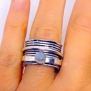 Moonstone Sterling Silver Wide Band Spinner Ring